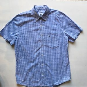 LACOSTE Blue Checked Short Sleeve Shirt - sz 40
